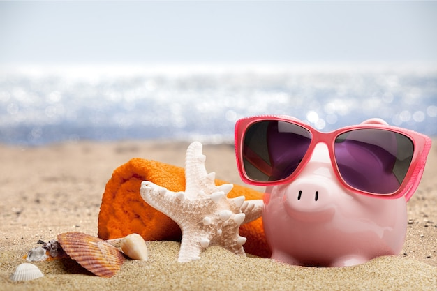 Летняя копилка с солнцезащитными очками и ракушками, концепция сбережений
