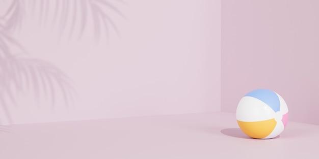 Летний розовый баннер с надувным пляжным мячом и тенями тропических листьев, 3d визуализация