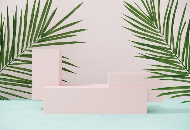 夏の表彰台、熱帯のヤシの葉を持つ幾何学的なオブジェクトの製品を宣伝するためのプラットフォーム。