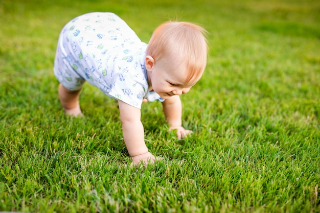 Summer portrait of happy funny baby boy outdoors on grass in field. child learning to crawl
