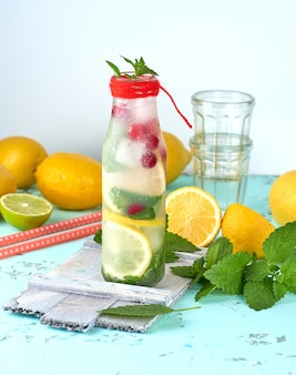 Summer refreshing drink lemonade with lemons, cranberry, mint leaves