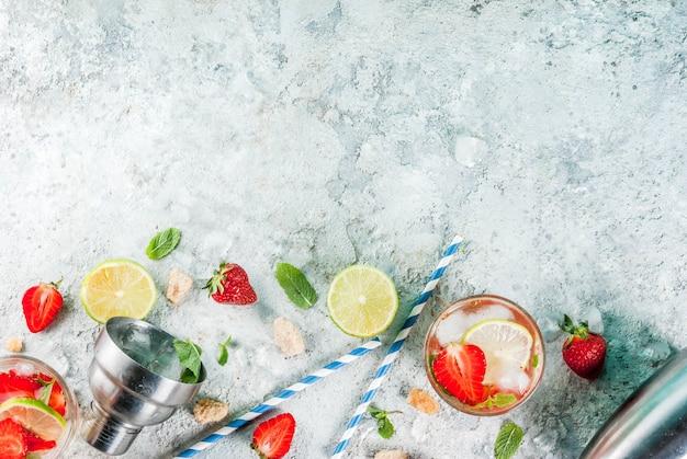 Summer refreshment drink, strawberry mojito cocktail