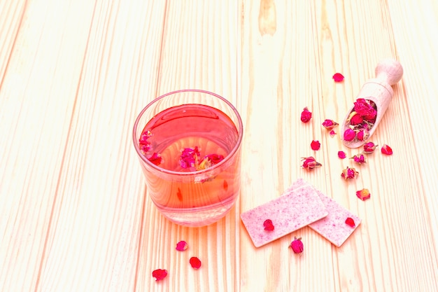 Summer refreshment tea from rose flowers