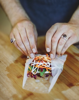Summer roll stuffed with fresh vegetables