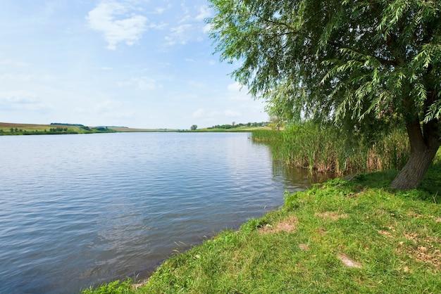 反対側の海岸に村と夏の急いで湖の景色