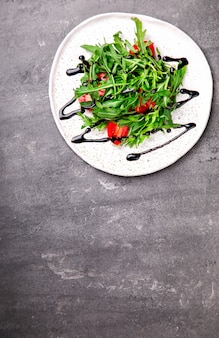 Summer salad from fresh greens. food for a party.