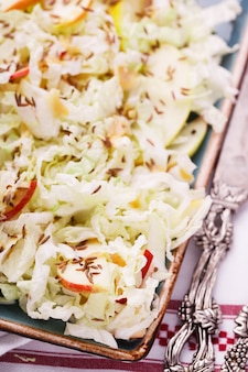 Summer salad  with cabbage with apple