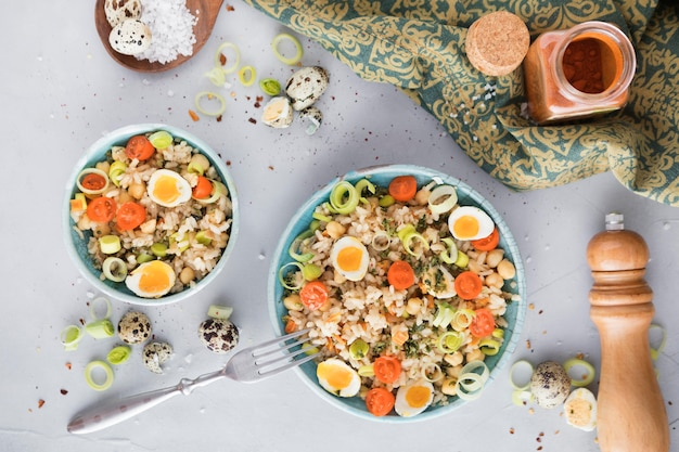Summer salad with eggs and veggies long view