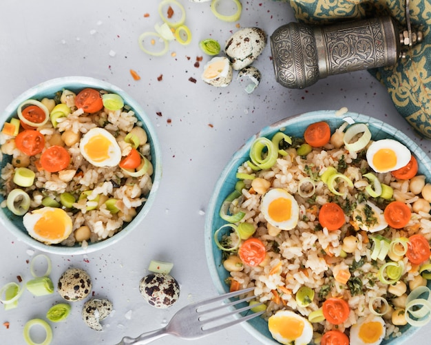 Summer salad with eggs and veggies