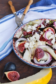 Summer  salad with figs and melon