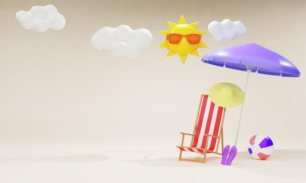 Летняя распродажа баннер с элементами 3d пляжа
