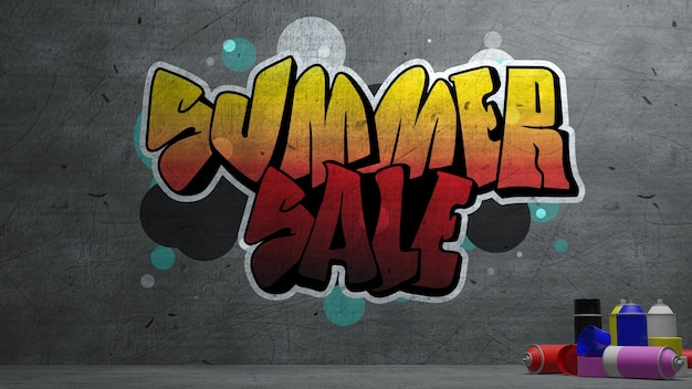 Summer sale graffiti on concrete wall  texture stone wall background. 3d rendering