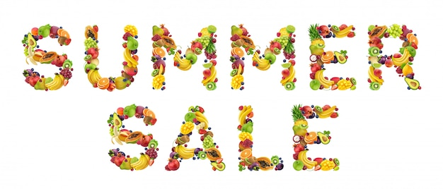 Summer sale made of fruits and berries