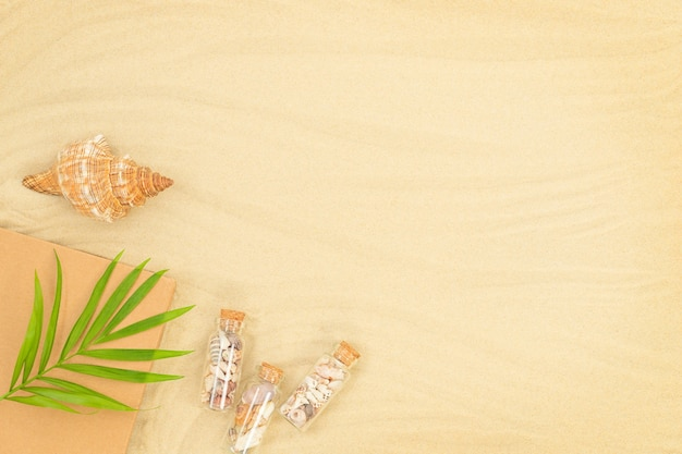 The summer sandy background with seashell book small bottles and green leaves on the beach