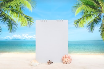 Summer sandy beach with blank white wall mockup and coconut tree