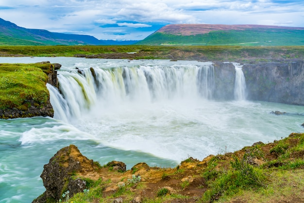 Summer scene of godafoss waterfall in cloudy day