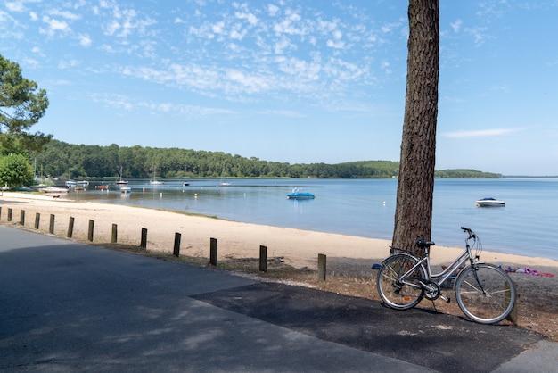 Summer scene in lake in gironde france in lacanau village