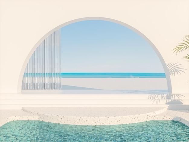 Летняя сцена с геометрическими формами арки с подиумом в естественном дневном свете с видом на море 3d-рендеринг