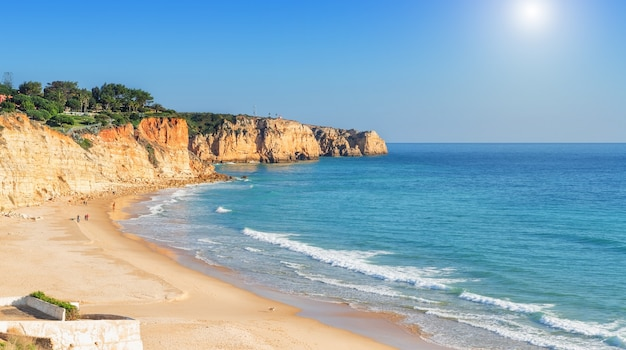 Summer sea atlantic beaches in lagos. portugal.