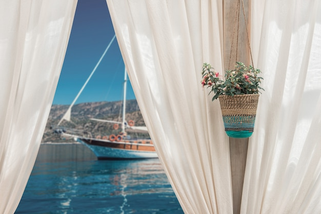 Summer sea and yacht