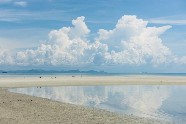 夏の海の景色明るい青い海空白い雲の背景