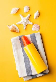 노란색에 여름 조개 선크림