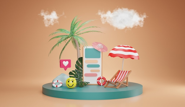 Summer season and delivery online. beach elements with smartphone. vacation concept, 3d rendering