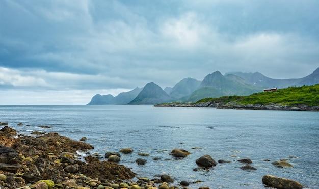 Летом вид на побережье фьорда сенья около городка островка хусой, норвегия. пасмурная пасмурная погода.