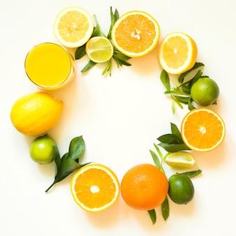 Summer set of tropical fruits, lemon, orange and green leaves on white. banner.
