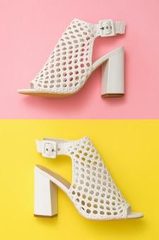 黄色とピンクに白い革で作られた夏の靴