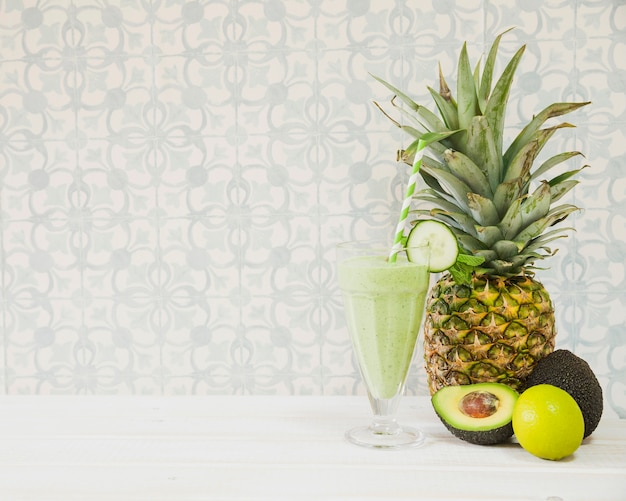 Summer smoothie with pineapple and copyspace