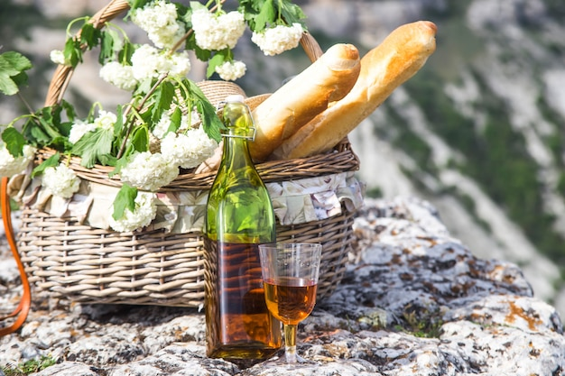 Summer and spring outdoor recreation with delicious beautiful food and wine
