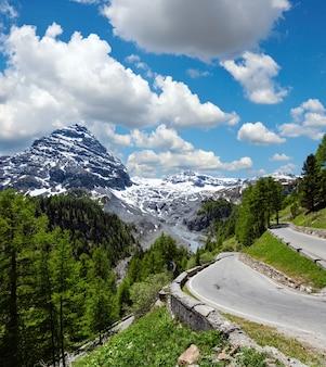 Летний перевал стельвио с еловым лесом и снегом на вершине горы (италия). изображение сшивается двумя кадрами.