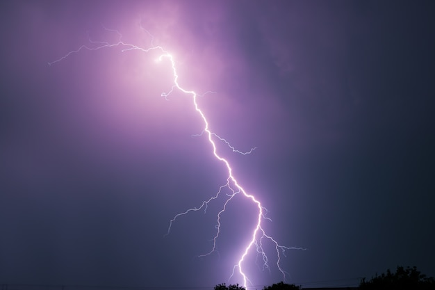 Summer storm with thunder, lightnings and rain.