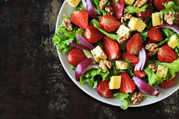 Summer strawberry salad with blue cheese. keto salad keto diet.
