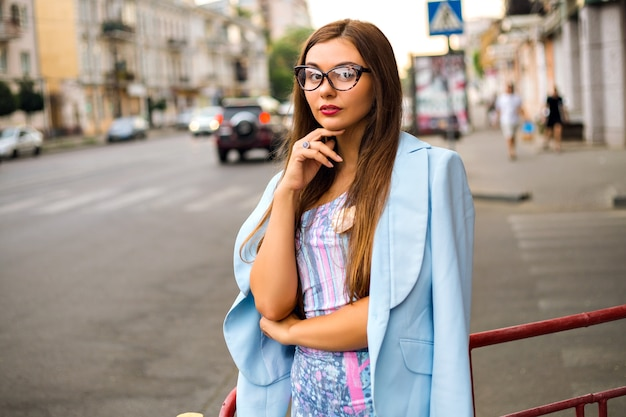 Summer street fashion look of glamour hipster girl
