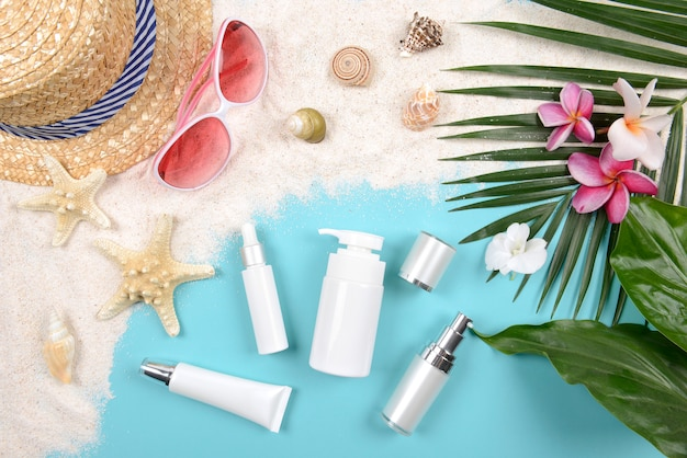 Summer and sunscreen, beauty cosmetics product for skin care and women accessories