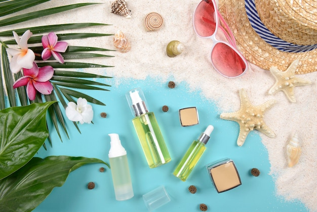 Summer and sunscreen, beauty cosmetics product for skin care and women accessories.