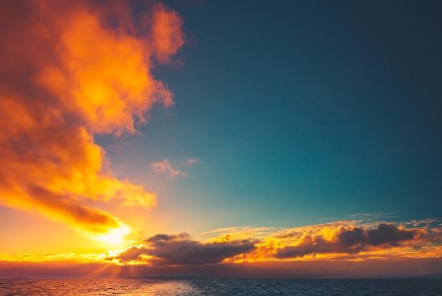 Summer sunset in antarctica. beautiful winter background