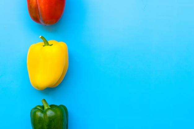Summer of sweet bell pepper on blue background.