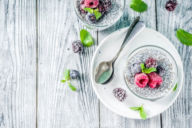 Summer sweet berry dessert with chia seeds