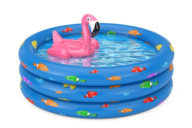 Summer swimming pool inflantable rubber pink flamingo toy in blue rubber inflatable childrens pool on a white background. 3d rendering