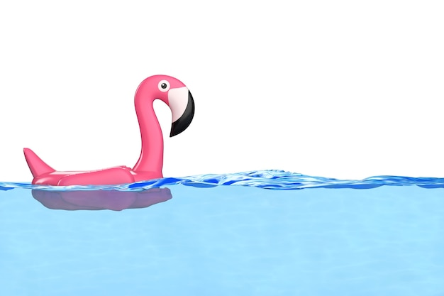 Summer swimming pool inflantable rubber pink flamingo toy in clean pool blue water on a white background. 3d rendering