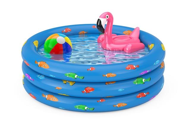 Летний бассейн надувной резиновый розовый фламинго игрушка в голубой резиновый надувной детский бассейн на белом фоне. 3d рендеринг