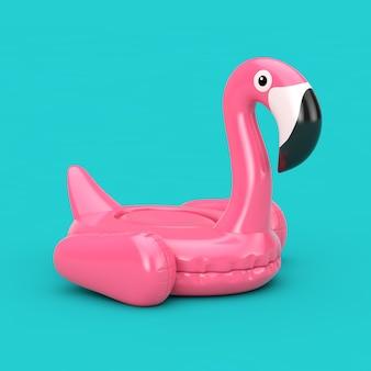 Летний бассейн надувной резиновый розовый фламинго игрушка на синем фоне. 3d рендеринг