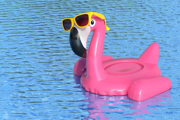 Summer swimming pool inflantable rubber pink flamingo toy with yellow sunglasses in clean pool or sea blue water on a white background. 3d rendering