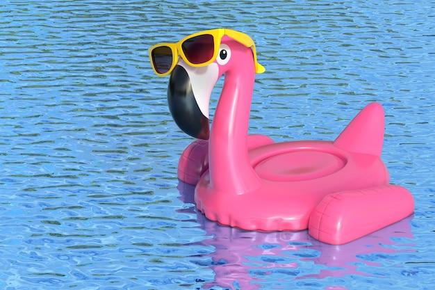 Летний бассейн надувной резиновый розовый фламинго игрушка с желтыми солнцезащитными очками в чистом бассейне или морской голубой воде на белом фоне. 3d рендеринг
