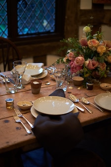 Summer table setting in rustic style.