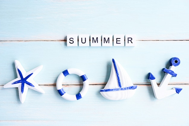 Summer text banner design beach accessories on wooden board,summer vacation concept