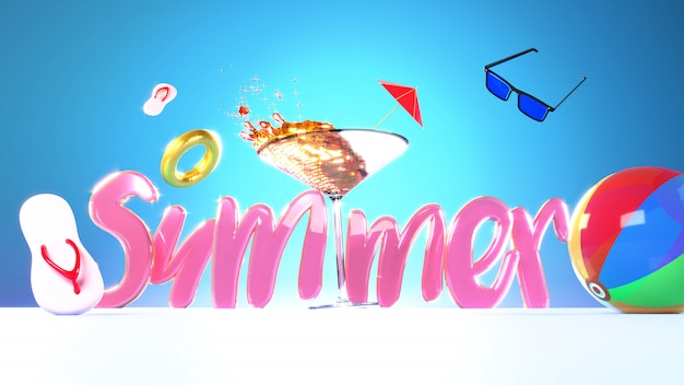 Summer text with cocktail glass and beach elements